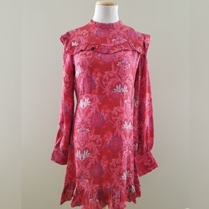 Zara Woman Silk Ruffle Hem Red Print Dress Medium